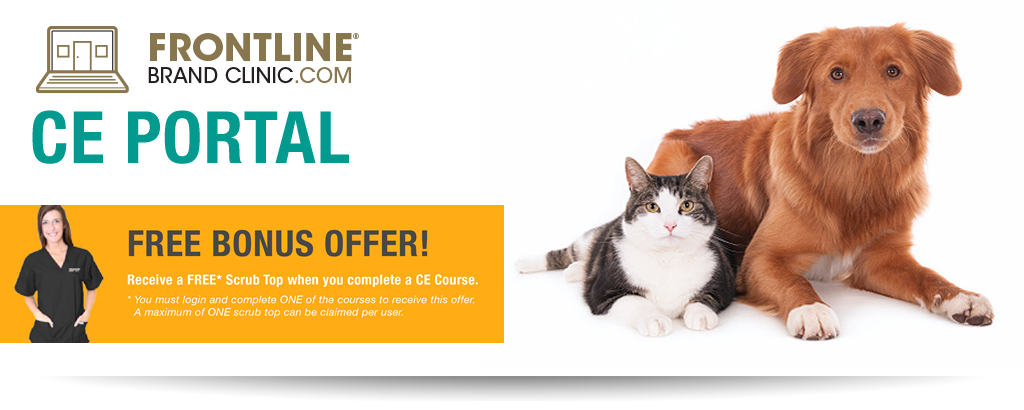 Frontline® Brand Clinic.com Free bonus offer! Receive a FREE* scrub top when you complete a CE course. You must log in and complete ONE of the courses to receive this offer. A maximum of ONE scrub top can be claimed per user.